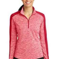 Ladies PosiCharge ® Electric Heather Colorblock 1/4 Zip Pullover Thumbnail